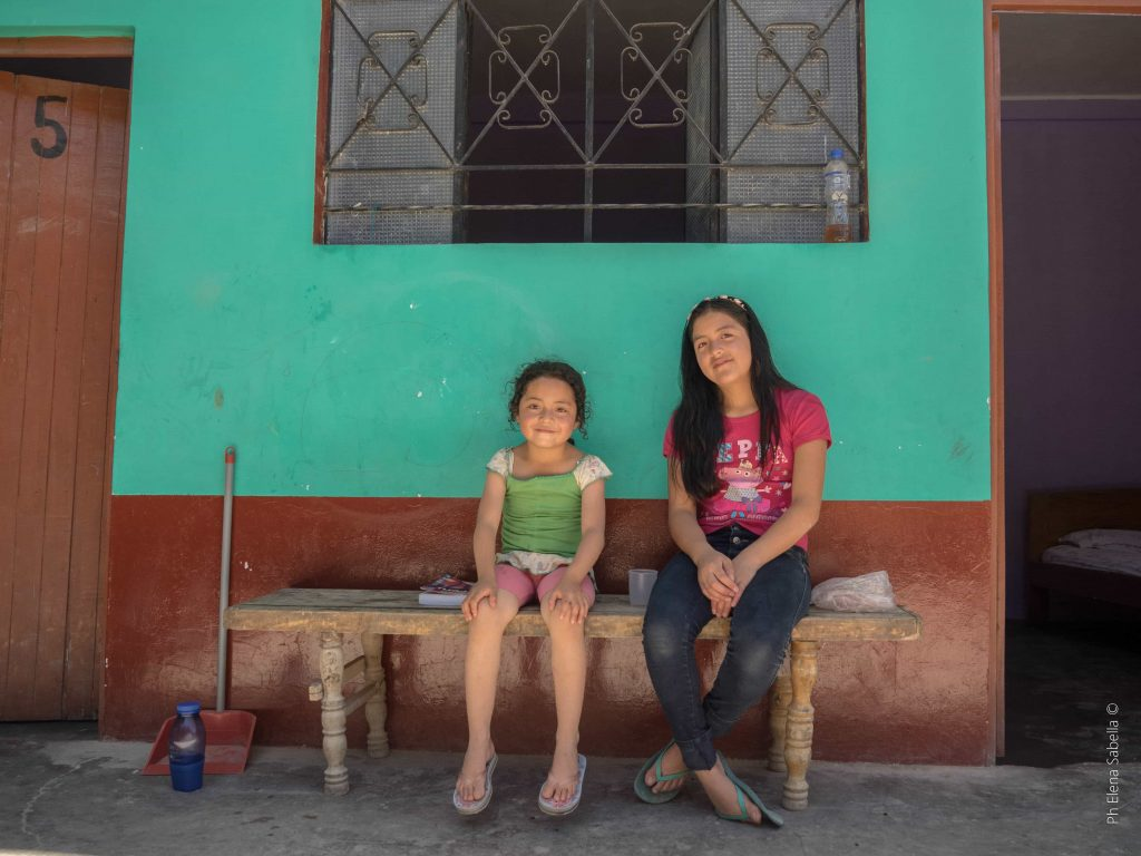 Two girls at a low-cost hotel in Nueva Cajamarca, Peru